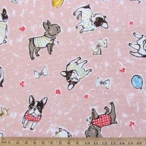 Dressed up puppy dog cotton fabric