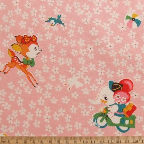 Japanese bambi and elephant cotton fabric