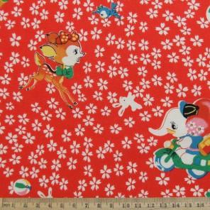 Japanese bambi and Elephant cotton fabric