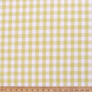 Lemon gingham cotton fabric