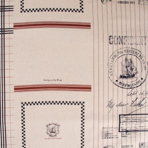 Nautical tea-towel fabric - partial design