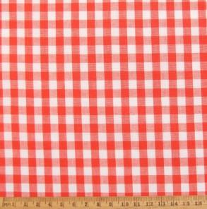 Orange gingham cotton fabric