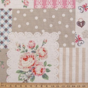 Layered patchwork print with sparkles on flowers
