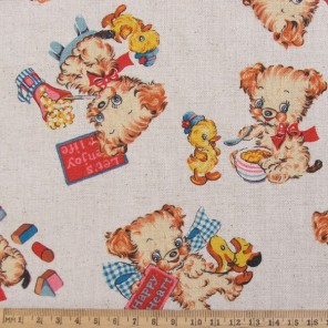 Retro puppy dog cotton linen fabric