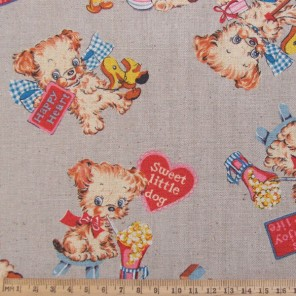 Retro puppy dog cotton linen fabric