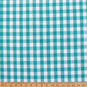 Turquoise gingham cotton fabric