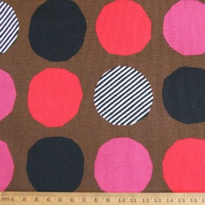 Big Spot red-pink on flax blended cotton fabric