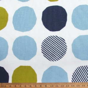 Big Spot, blue-green flax blended cotton fabric