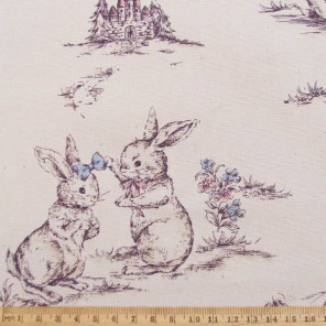 Bouncing Bunnies cotton fabric, natural