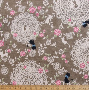 Lacey Cats cotton fabric in brown, from Kokka