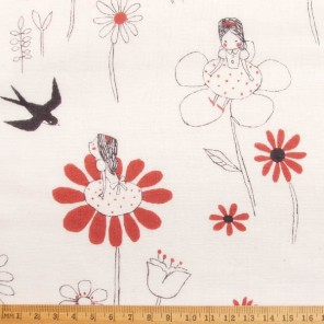 Thumbelina sitting on lily-pads and in field of flowers, cotton fabric