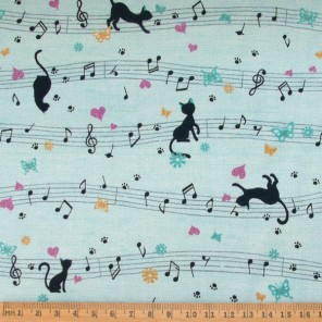 Musical Cat cotton fabric, blue