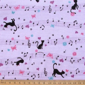 Musical Cats cotton fabric, in lilac