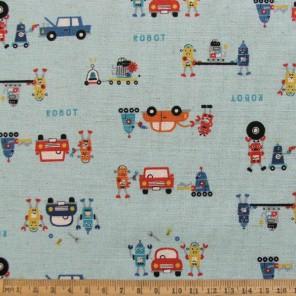 Robots n Cars cotton linen mix fabric