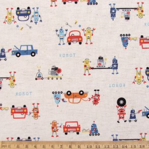 Robots n Cars cotton and linen mix fabric