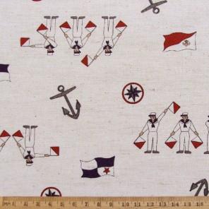Retro Cartoon Maritime cotton linen fabric